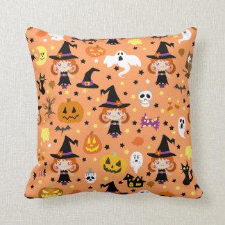 Witch Girl Halloween Pattern Pillows