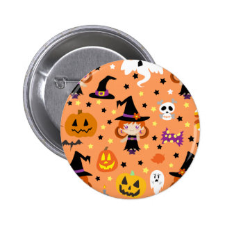 Witch Girl Halloween Pattern Pinback Buttons