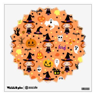 Witch Girl Halloween Pattern Room Graphics