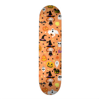 Witch Girl Halloween Pattern Skateboard Deck