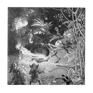 Witch, Gnomes and Fleeing Frog Ceramic Tile