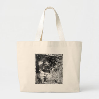 Witch, Gnomes and Fleeing Frog Large Tote Bag