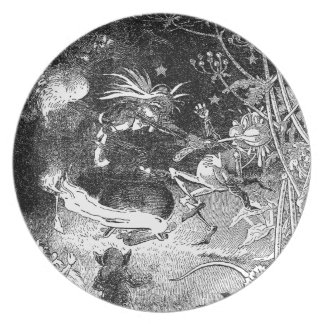 Witch, Gnomes and Fleeing Frog Melamine Plate