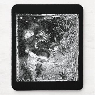Witch, Gnomes and Fleeing Frog Mouse Pad