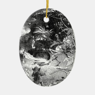 Witch, Gnomes and Fleeing Frog Christmas Tree Ornament