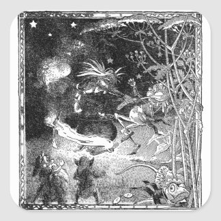Witch, Gnomes and Fleeing Frog Square Sticker