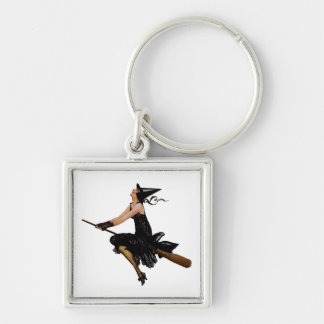 Witch Goes Flying on a Broomstick Key Chains