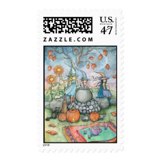 Witch Gothic Halloween Postage Stamps