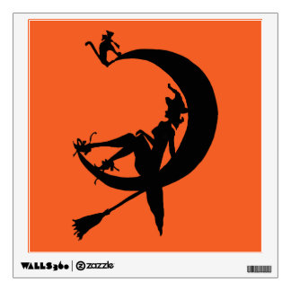 Witch Half Moon and Cat Wall Decal