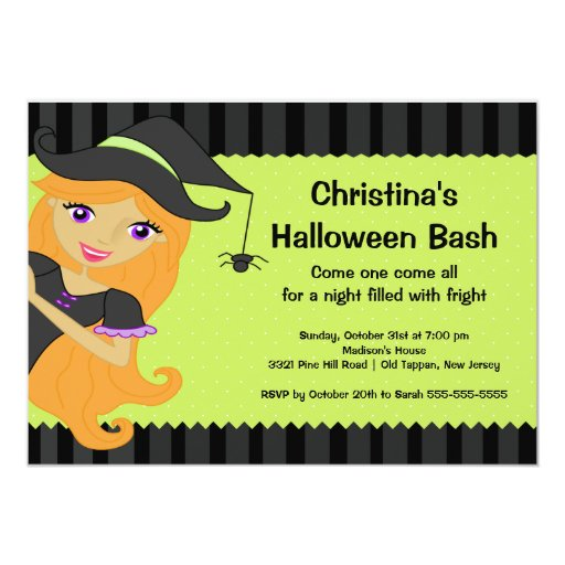 Witch Halloween Bash Halloween Party Invitations