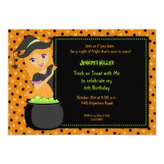 Witch Halloween Birthday Invitation at Zazzle