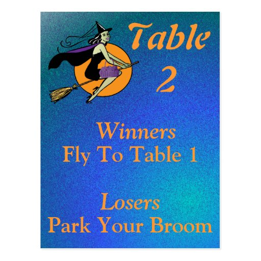 Witch Halloween Bunco Table Card Number 2 Post Cards
