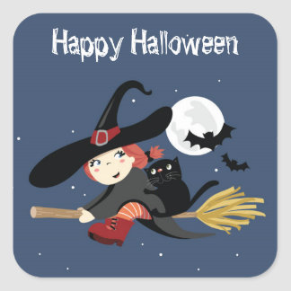 Witch Halloween Party Stickers