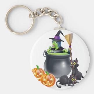 Witch Halloween Scene Keychain