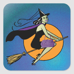 Witch Halloween Square Sticker