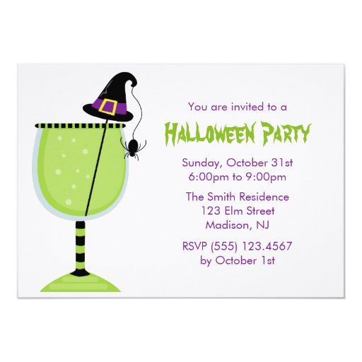 Witch Hat and Spider Halloween Cocktail Party Card