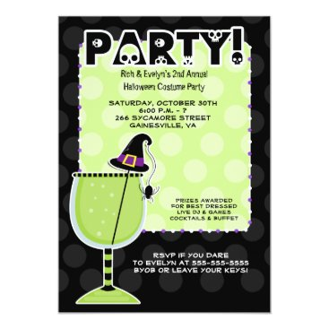 Witch Hat Cocktail Halloween Party 5x7 Invitation