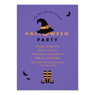 Witch Hat Halloween Party Invitation