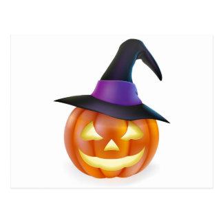 Witch hat Halloween pumpkin Post Cards