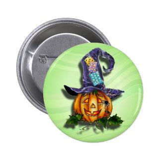 WITCH HAT & JACK by SHARON SHARPE 2 Inch Round Button