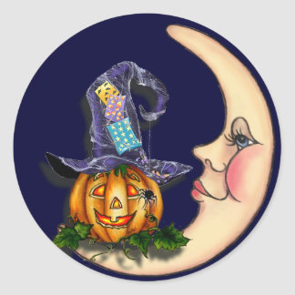 WITCH HAT, JACK & CRESCENT MOON by SHARON SHARPE Classic Round Sticker