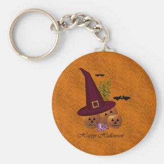 Witch Hat Pumpkins ~ Orange Basic Round Button Keychain