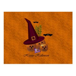 Witch Hat Pumpkins ~ Orange Postcard