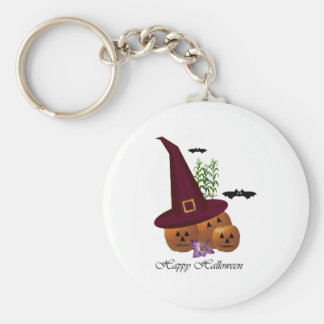 Witch Hat Pumpkins ~ White Basic Round Button Keychain