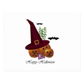 Witch Hat Pumpkins ~ White Postcard