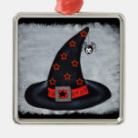 Witch Hat Stars Cute Spider Square Metal Christmas Ornament