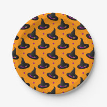 witch hats halloween pattern paper plate