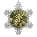 Witch Hazel Flowers Snowflake Pewter Christmas Ornament