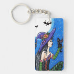 """Witch & Her Bat-Cats""  Key Chain"
