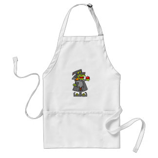 Witch holding red apple apron