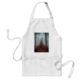 Witch house in the forest with fog adult apron