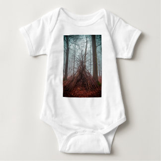 Witch house in the forest with fog baby bodysuit