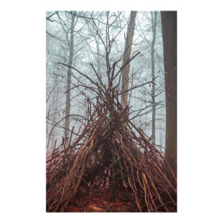 Witch house in the forest with fog stationery