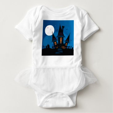 Halloween Themed Witch house with Pumpkin heads / HALLOWEEN THEME Baby Bodysuit