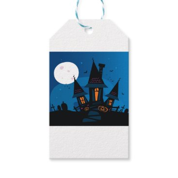 Witch house with Pumpkin heads / HALLOWEEN THEME Gift Tags