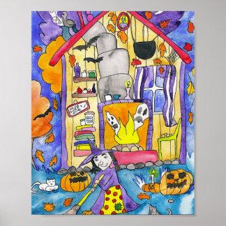 Witch Hut Halloween Art Poster
