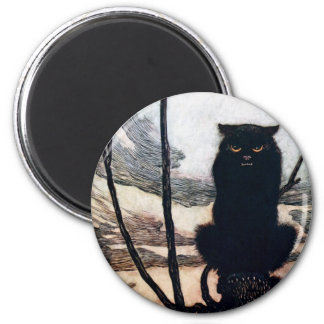 Witch in Cat Form 2 Inch Round Magnet