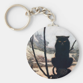 Witch in Cat Form Basic Round Button Keychain