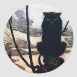 Witch in Cat Form Classic Round Sticker