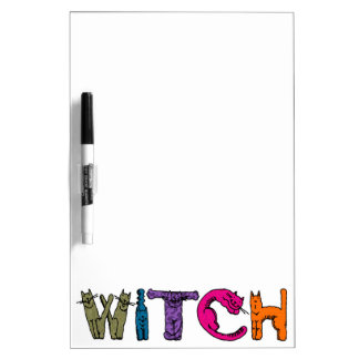 """Witch"" in Cat Letters Dry-Erase Board"