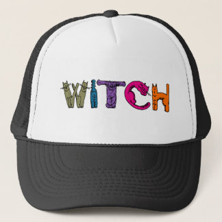 """Witch"" in Cat Letters on Cap"