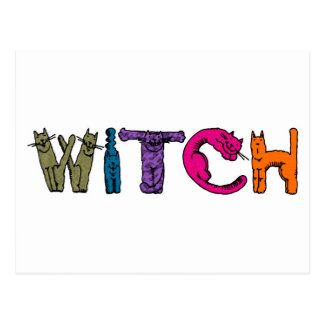 """Witch"" in Cat Letters Postcard"
