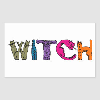 """Witch"" in Cat Letters Rectangular Sticker"