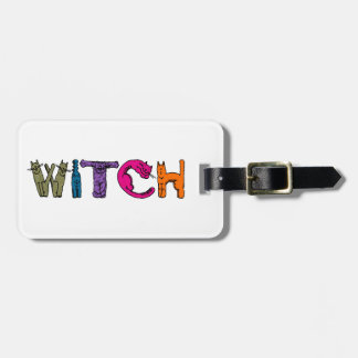 """Witch"" in Cat Letters Travel Bag Tag"