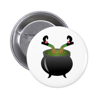 Witch In Cauldron Pinback Buttons