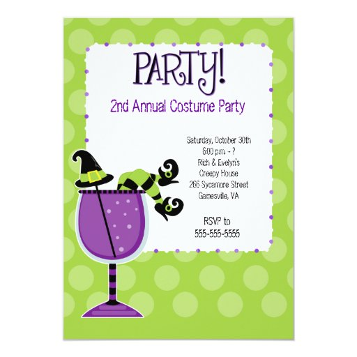 Witch in Cocktail Adult Costume Party Invitation